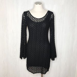 [Free People] Black Crochet Dress w/ Bell Sleeves